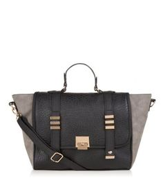 Grey and Black Colour Block Winged Satchel
