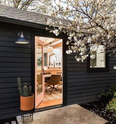 Check out this amazing garage to office conversion by local real estate & design duo & of Friday & Company. The pendants are our Alto in matte black. Black House Exterior, Ranch Exterior, Craftsman Exterior, Grey Exterior, Exterior Remodel, Exterior Paint Colors, Exterior House Colors, Modern Exterior, Exterior Siding