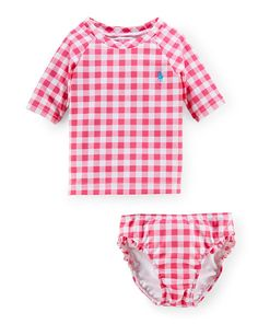 Gingham Two-Piece Swim Set - Baby Girl Swim - RalphLauren.com