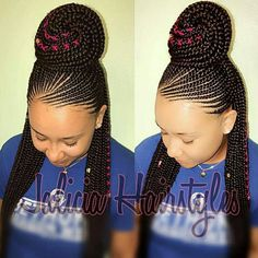 Have you been swooning over the hottest hairstyle of 2017 – Alicia Keys braids? We've compiled our top ideas for styling your cornrows.Cornrows have been around for many years now and are one of the most popular protective styles sported by African women. Box Braids Hairstyles, Braided Cornrow Hairstyles, Braided Hairstyles For Black Women, My Hairstyle, African Hairstyles, Girl Hairstyles, Half Cornrows, Hairstyles 2018, 1980s Hairstyles