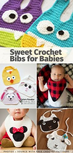 Sweet Crochet Bibs for Babies Free Patterns Source by Sets Crochet Baby Bibs, Crochet Baby Beanie, Crochet Elephant, Crochet For Boys, Baby Girl Patterns, Bib Pattern, Quick Crochet, Crochet Projects, Tricot