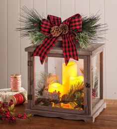 Rustic Holiday Lantern With Led Candles, Natural - Plow & Hearth : Target Farmhouse Christmas Decor, Outdoor Christmas Decorations, Christmas Centerpieces, Country Christmas, Christmas Lights, Vintage Christmas, Christmas Holidays, Christmas Wreaths, Christmas Lanterns Diy