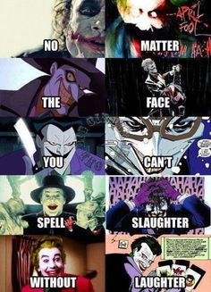 No matter the face, you can't spell slaughter without laughter. Ahh the Joker Batman Joker Batman, Batman Stuff, Batman Art, Dc Universe, Batman Universe, Joker Und Harley Quinn, Nananana Batman, Univers Dc, Video X