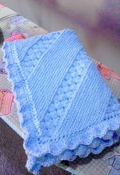 Ravelry: Project Gallery for Treasured Heirloom Baby Blanket pattern by Lion Brand Yarn by ingrid Free Knit Shawl Patterns, Baby Boy Knitting Patterns, Knitting Machine Patterns, Crochet Blanket Patterns, Free Pattern, Knitting Bear, Free Knitting, Baby Shawl, Baby Afghan Crochet