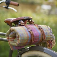 picnic rug and leather saddle straps by beg bicycles | notonthehighstreet.com