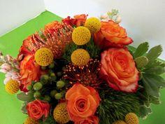 Bridal bouquet Circus roses, crespedia, mambo spray roses, green trick, pincushion protea