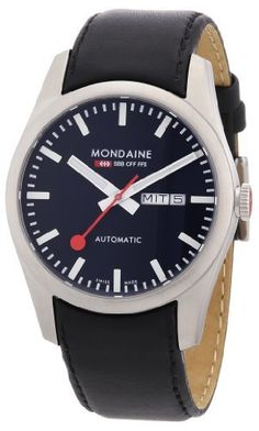 Exceptional Mondaine Mens Retro Day/Date Automatic Watch - Black Leather Strap and Dial by Mondaine