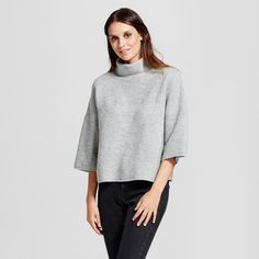 Women's Turtleneck Pullover Sweater - Mossimo Gray L