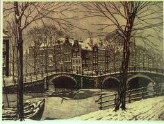 Cornelis Brandenburg (1884-1954), besneeuwd Amsterdams grachtgezicht, ets