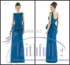 Wholesale Alfred Sung - Buy Turquoise Bridesmaids Dress Bateau Band Peplum Detail Over Slim Skirt Pleats Square Back Split D559, $106.82 | DHgate
