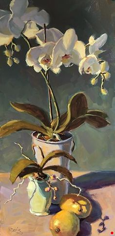 Harmony by Kathleen Denis Oil ~ 24 x 12 Artist Painting, Still Life, Orchids, Florals, Urban, Oil, Watercolor, Plants, Inspiration