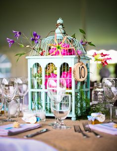 These DIY wedding centerpieces are beautiful and easy to make. No matter what your style, you'll be able to create cheap wedding table decorations that are budget-friendly. Non Floral Centerpieces, Bird Cage Centerpiece, Unique Wedding Centerpieces, Unique Weddings, Wedding Decorations, Table Decorations, Centerpiece Ideas, Homemade Centerpieces, Inexpensive Centerpieces