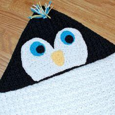 Penguin Hooded Baby Towel Crochet Pattern