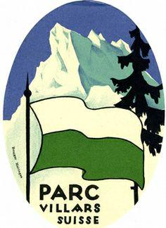 Artiste Inconnu 1935 Parc Villars Suisse Etiquette de bagage Evian Les Bains, Fürstentum Liechtenstein, Swiss Travel, Tourism Poster, Vintage Hotels, Luggage Labels, All Poster, Travel And Tourism, Vintage Travel Posters