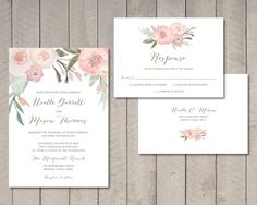 Blush Floral Wedding Invitation and RSVP by vintagesweetdesign