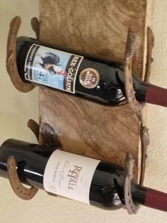 Live edge spalting maple horseshoe wine rack by RopedOnCedar, $53.75