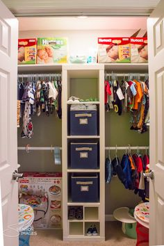 Favorite nursery closet organization style - love the middle divider shelves and double hanging bars - particularly for the twins' closet. Also a great idea for children sharing a room.-Lots of storage for bigger items too!