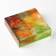 'Earth On Fire' Acrylic Block by Faye Anastasopoulou Earth On Fire, Decorative Throw Pillows, Decorative Items, Home Office Accessories, Theme Pictures, Fancy Houses, Home Decor Items, Wall Tapestry, Diamond Cuts
