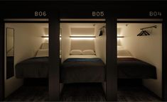 Capsule guestroom at The Millennials Shibuya hotel, Tokyo, Japan | Japan's famous capsule hotel concept has just been raised a notch with the launch of The Millennials Shibuya, a new property with six floors of 120 high-tech multifunctional 'smart pods' designed by local creative outfit Tosaken #japan #capsulehotel #travel #mustvisit #destinations