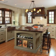 Cream cabinets wood trim and cabinets on pinterest for Cream kitchen cabinets with white trim