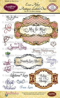 """JustRite Papercraft - Ever After Antique Labels One- 4"""" x 6"""" Clear Stamps designed by Amy Tedder."""