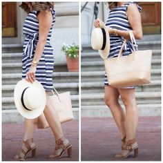 Navy & white stripe dress with side wrap Size small dress. Zipper in top back. The wrap on the side is for show, it doesn't unwrap the skirt. Only wore once. Dresses
