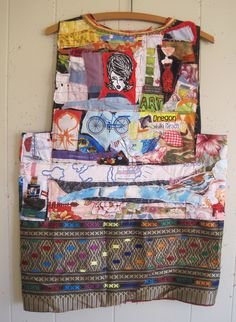 My Bonny Waste Not Waistcoat - Wearable Random Scraps of FABRIC Collage Clothing -- Folk ART Southwestern Vest