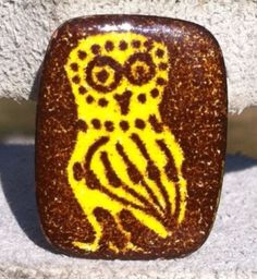 Vintage Playbird Enamel on Copper Owl Pin Brooch.