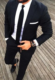 ideas for moda masculina formal suits ties Men Formal, Formal Suits, Formal Wear, Casual Wear, Mens Fashion Suits, Mens Suits, Mens Casual Wedding Suits, Men's Fashion, Black Suit Wedding