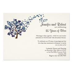 Blue Heart Tree on Ivory Wedding Anniversary Personalized Announcements