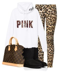 """""""Untitled #172"""" by beautifully-ambitious ❤ liked on Polyvore featuring Balmain, Victoria's Secret PINK, Louis Vuitton and UGG Australia"""