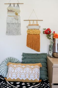 Beautiful, Bohemian Hand Woven Wall Hangings by wovenrebel Woven Wall Hanging, Crafty Craft, Bohemian Decor, Wall Hangings, Hand Weaving, Etsy Seller, Throw Pillows, Blanket, Creative