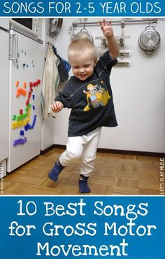 Best Songs for Gross Motor Movement These best 10 songs for Gross motor movement have plenty of ideas to keep the liveliest toddlers active!These best 10 songs for Gross motor movement have plenty of ideas to keep the liveliest toddlers active! Lets Play Music, Music For Kids, Toddler Music, Children Music, Children Games, Children Crafts, Young Children, Toddler Activities, Learning Activities