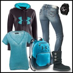 Under Armour inspired outfit for school. Backpack Black UGG Sweatshirt Jeans