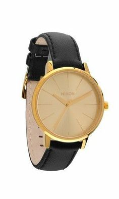4977538661e9b7 Nixon new womens watch the kensington leather gold with black band