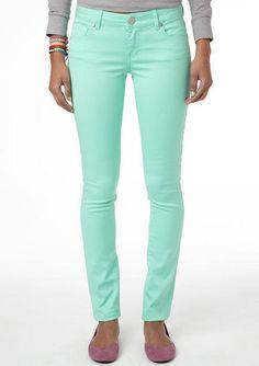 J Brand Super Skinny Leather Jeans L8001 Mint Green Pastel | Mint ...