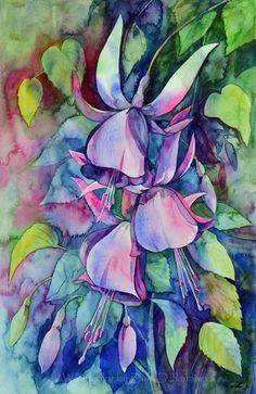 Fuchsia Valse, Watercolour painting by Zaira Dzhaubaeva   Artfinder