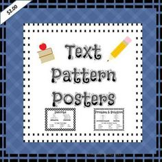 5 text patterns posters showing key words and suggested graphic organizers & bonus summarizing template