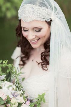 Stunning bride wears out Juliet Cap veil , image by Craig and Eva Saunders