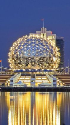 "Science World glows at night in ""Vancouver skyline, British Columbia, Canada"" Ottawa, Quebec, Vancouver British Columbia, Ontario, Amazing Buildings, Amazing Architecture, Science Center Architecture, Vancouver Architecture, Places Around The World"