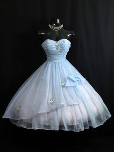 Vintage 1950's 50s STRAPLESS Baby Blue Ruched Embroidered Applique Chiffon Organza Party Prom Wedding Dress Gown. $349.99, via Etsy.