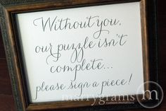 Alternative Guest Book Puzzle Sign - Wedding Reception Seating Signage - Matching Numbers Available - Wedding Seating Sign SS01. $10.00, via Etsy.