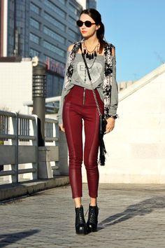 plush vest & burgundy pants