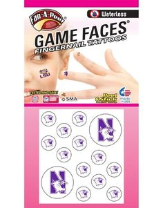 Northwestern University (NU) Wildcats – Waterless Peel and Stick Temporary Tattoos – Waterless Peel and Stick Temporary Fingernail Tattoos – 12 Fingernail Tattoos and 2 Spirit Tattoos -- You can get additional details at the image link. (As an Amazon Associate I earn from qualifying purchases) Temporary Face Tattoos, Temporary Tattoo Paper, 2 Spirited, Spirit Tattoo, Northwestern University, Game Face, Body Glitter, Body Makeup, Tattoo You