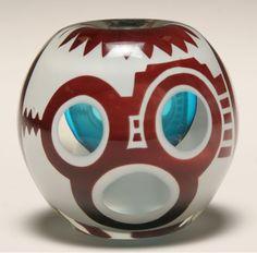 Peet Robison American Aztec studio glass paperweight.