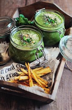 Green Soup with Baked Parsnip Fries #green #stpatricksday #soup