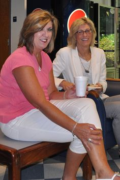 BCCC Staff Association President Penny Sermons, right, and Tricia Woolard share a light moment at the picnic.