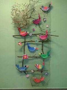 - Other - sommer basteln kinder -Vogel & s - Ayşe Döğer - depins. - Other - sommer basteln kinder - Barevní ptáčci z plsti / Zboží prodejce KashKi original - HomeDecor Bird Crafts, Easter Crafts, Diy And Crafts, Crafts For Kids, Arts And Crafts, Art N Craft, Craft Work, Diy Cadeau Noel, Collaborative Art