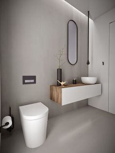 Best Powder Room Designs That You Can Have In Your Home - - A small washroom for guests is also called as a powder room and they should be clean and comfortable. Here are the powder room ideas for you to make your guests feel comfortable. Powder Room Paint, Powder Room Decor, Powder Room Design, Minimalist Bathroom Furniture, Modern Bathroom, Small Bathroom, Ideal Bathrooms, Beautiful Bathrooms, Decoration Chic