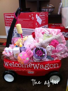 """Welcome Wagon"" for new baby!  Hint Hint...for anyone who can't decide what to get for a baby shower :o) Welcome Wagon, Baby Needs, Aunts, Baby Gifts, Baby Shower Gifts, Aunt Gifts, Before Baby, Woodland Baby, New Moms"